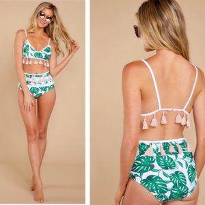 Cute Tropical Print Tassel High Waist Bikini